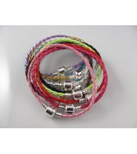 Bracelets en cuir tressé compatibles perles pandora.