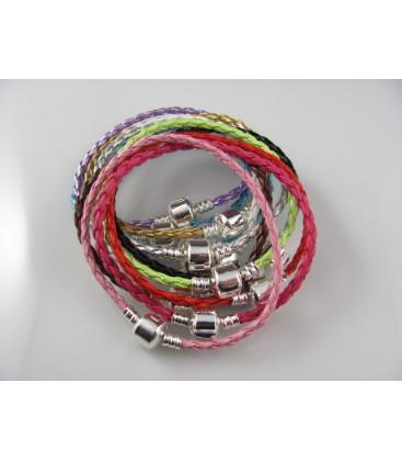 design de qualité 33f95 ebb98 Bracelets en cuir tressé compatibles perles pandora.